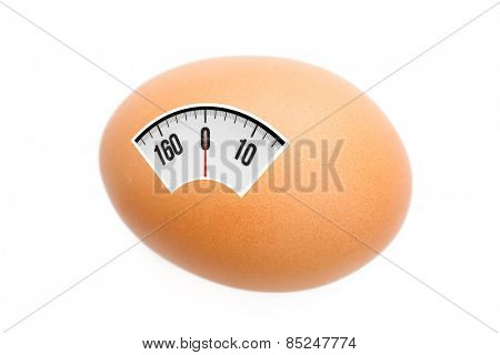 weighing scales against egg