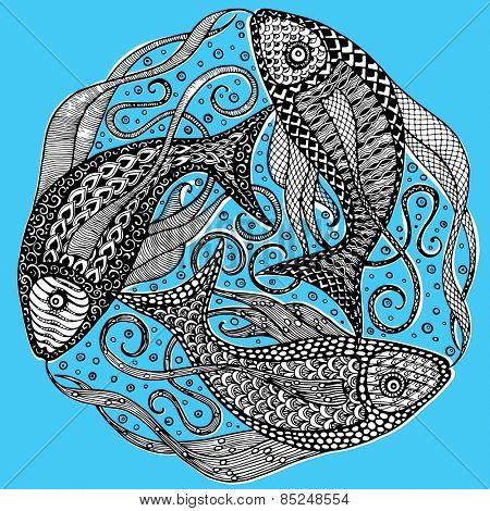 Vector Zodiac Sign Pisces - Mandala