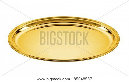 oval golden plate isolated on white
