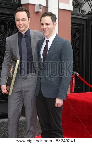 LOS ANGELES - MAR 11:  Jim Parsons, Todd Spiewak at the Jim Parsons Hollywood Walk of Fame Ceremony at the Hollywood Boulevard on March 11, 2015 in Los Angeles, CA