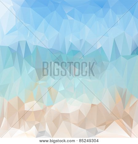Vector Polygonal Background Pattern - Triangular Design In Light Sea Be