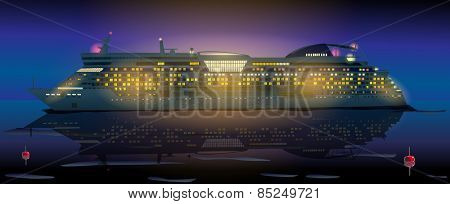 Big cruise ship in ocean at night. EPS 10 format.