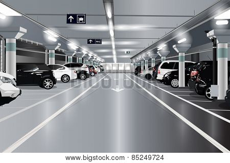 Underground parking with cars. EPS 10 format.