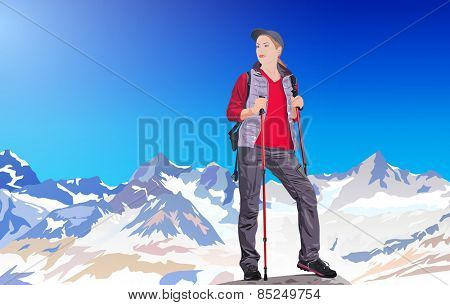 Young woman tourist standing on ice mountains. EPS 10 format.