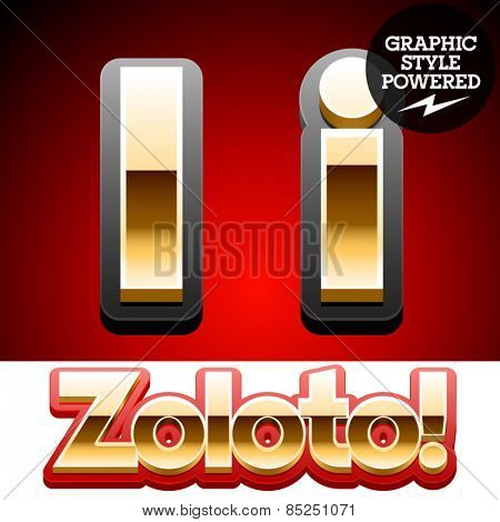 Vector set of classic 3D golden glossy font with black mat border. Optional different styles. Letter I