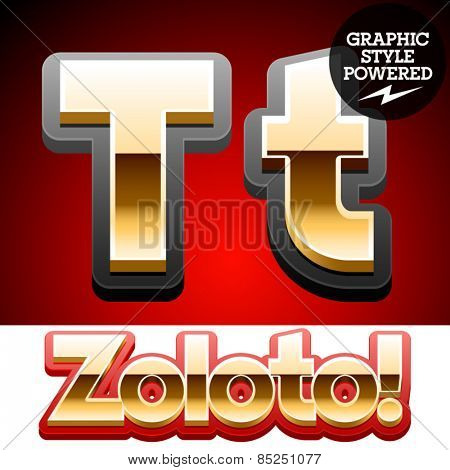 Vector set of classic 3D golden glossy font with black mat border. Optional different styles. Letter T