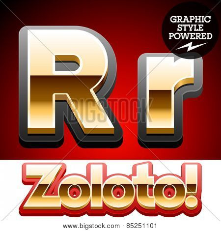 Vector set of classic 3D golden glossy font with black mat border. Optional different styles. Letter R