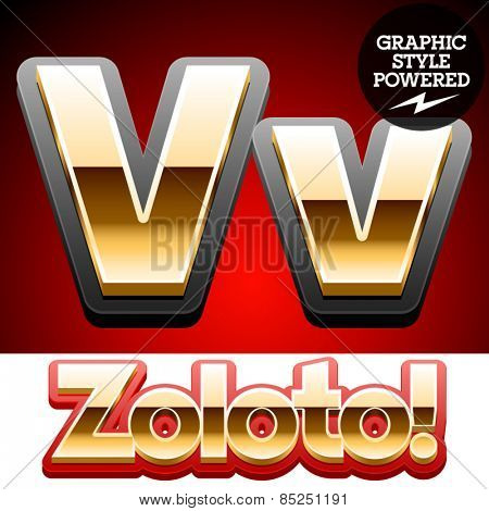 Vector set of classic 3D golden glossy font with black mat border. Optional different styles. Letter V