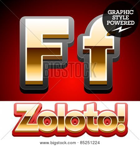 Vector set of classic 3D golden glossy font with black mat border. Optional different styles. Letter F