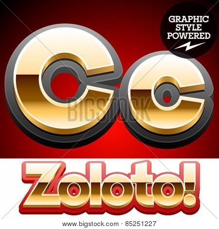 Vector set of classic 3D golden glossy font with black mat border. Optional different styles. Letter C