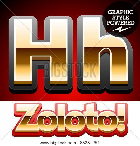 Vector set of classic 3D golden glossy font with black mat border. Optional different styles. Letter H