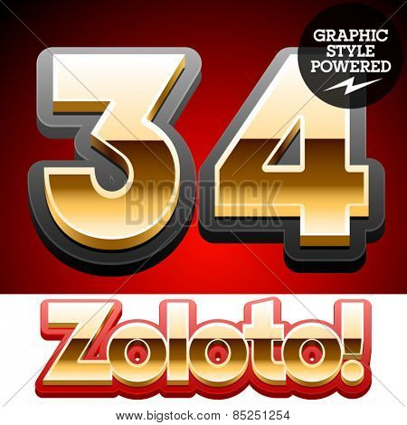 Vector set of classic 3D golden glossy font with black mat border. Optional different styles. Numbers 3 4