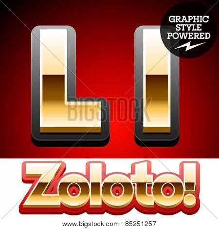 Vector set of classic 3D golden glossy font with black mat border. Optional different styles. Letter L