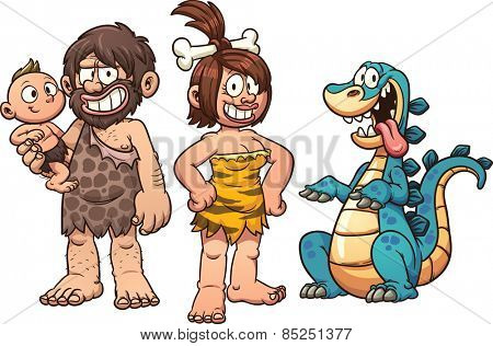Family of cavemen. Vector clip art illustration with simple gradients. Elements on separate layers.