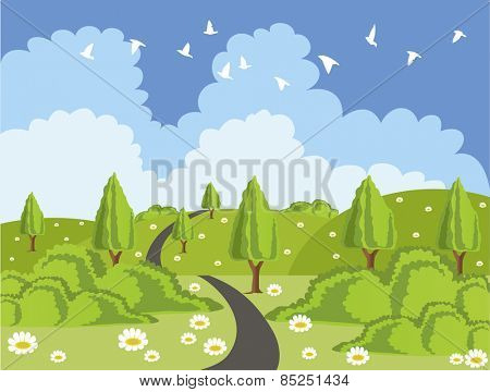 Beautiful green landscape illustration with a road