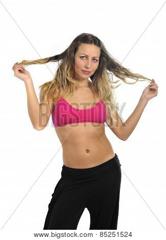 Young Sexy Beautiful Woman In Sport Clothes Posing Seductive With Top Bra In Fitness Concept