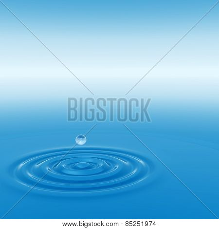 Concept or conceptual blue liquid drop falling in water splash background with ripples and waves, metaphor to nature, natural, summer, spa, drink, cool, business, environment, rain or health design