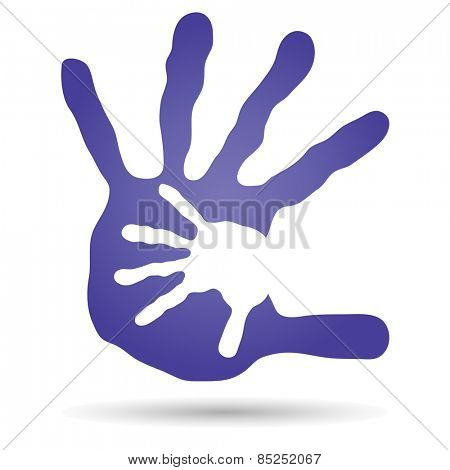 Concept or conceptual human or mother and child hand prints painted on white background for art, care, childhood, family, fun, happy, infant, symbol, kid, little, love, mom, motherhood or young