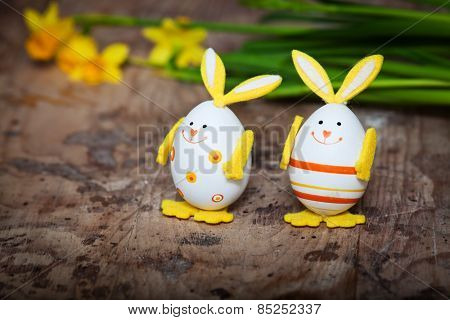 Easter decoration with bunny shaped eggs