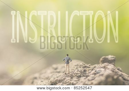Concept of advice with a person stand in the outdoor and looking up the text over the sky in nature background.