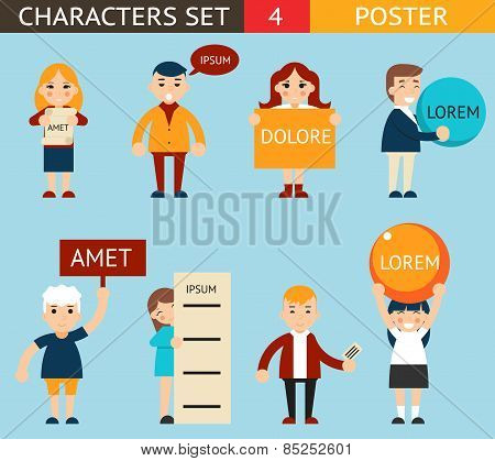 Business Male and Female Characters with Billboard Advertising Poster Sign Expressions Icons Set Fla