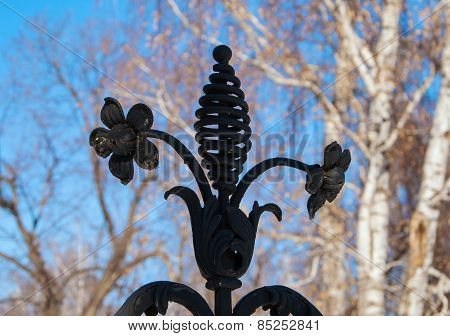 Cast iron forged flower