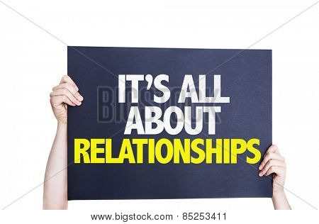 It's All About Relationships card isolated on white