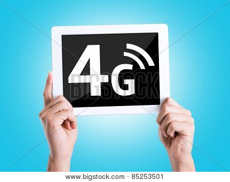 Tablet pc with text 4G with blue background