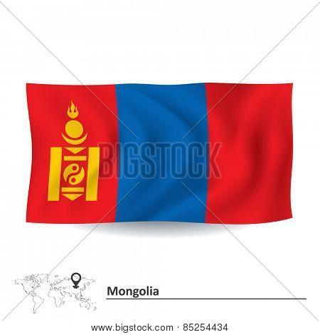 Flag of Mongolia - vector illustration