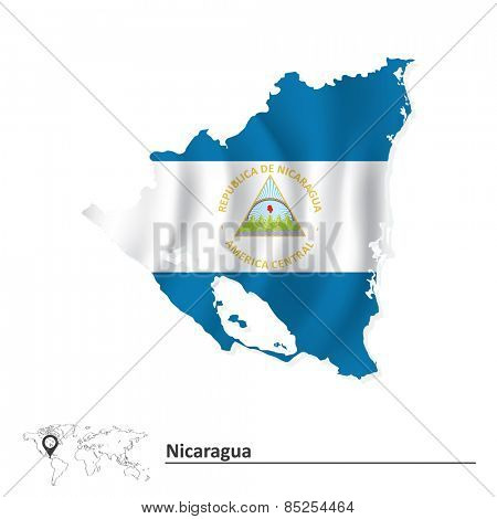 Map of Nicaragua with flag - vector illustration