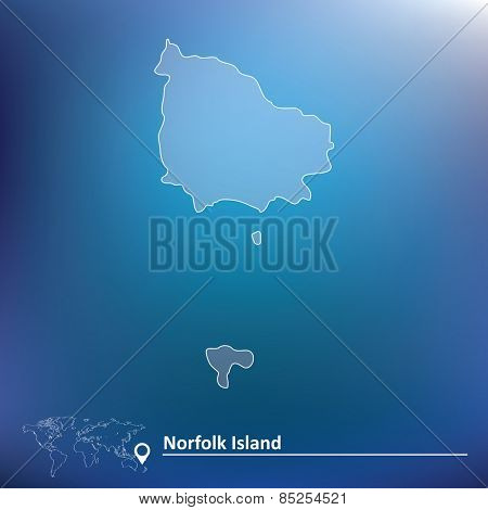 Map of Norfolk Island - vector illustration
