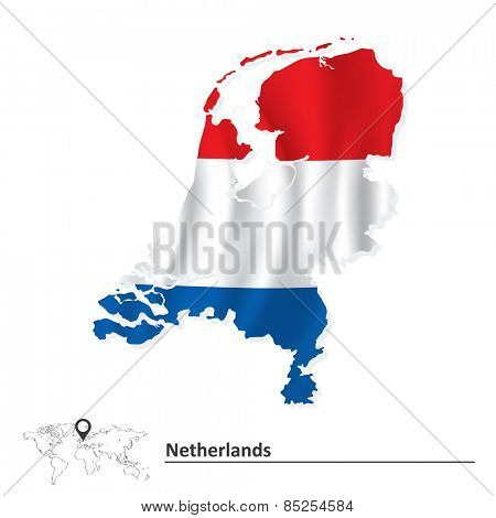 Map of Netherlands with flag - vector illustration