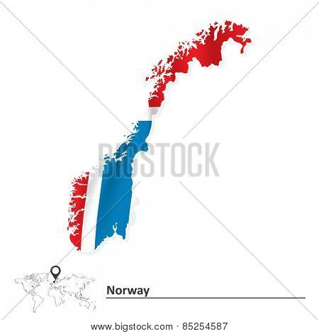Map of Norway with flag - vector illustration