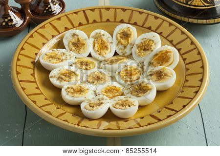 Moroccan traditional boiled eggs with salt and cumin for iftar in ramadan time