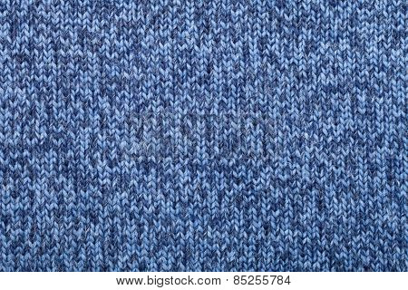 Blue knitted fabric textured background