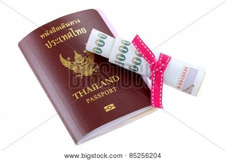 Thai electronic passport with some pocket money in Thai Baht, isolated on white background