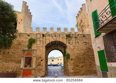 Alcudia Porta de Mallorca in Old town at Majorca Balearic islands of Spain