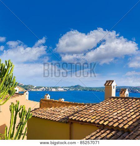 Majorca Cala Fornells beach Paguera Peguera Calvia in Mallorca at Balearic island of Spain