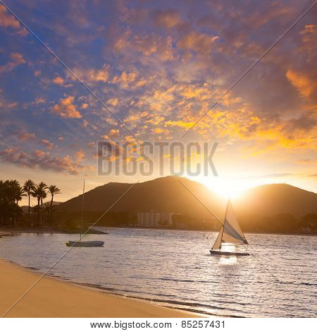 Alcudia Majorca at sunset on the beach Mallorca Balearic islands