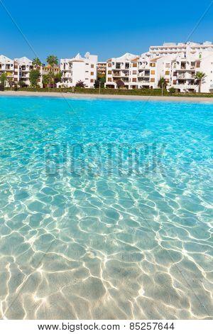 Platja de Alcudia beach in Mallorca Majorca at Balearic islands of Spain