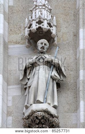 ZAGREB, CROATIA - SEPT 26: statue of St. Francis Xavier on the portal of the cathedral dedicated to the Assumption of Mary and to kings Saint Stephen and Saint Ladislaus in Zagreb on Sept 26, 2013.