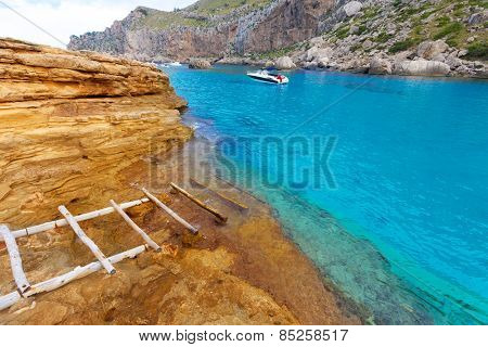 Majorca Cala Figuera beach of Formentor in Mallorca Balearic island of Spain