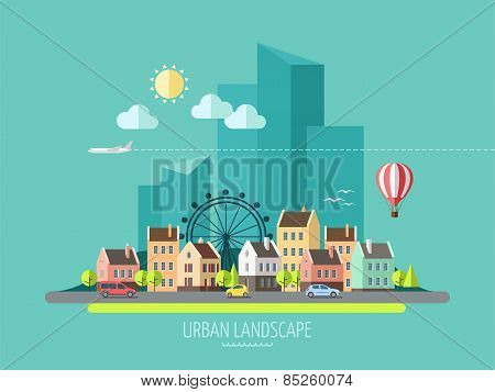 Flat design urban landscape.