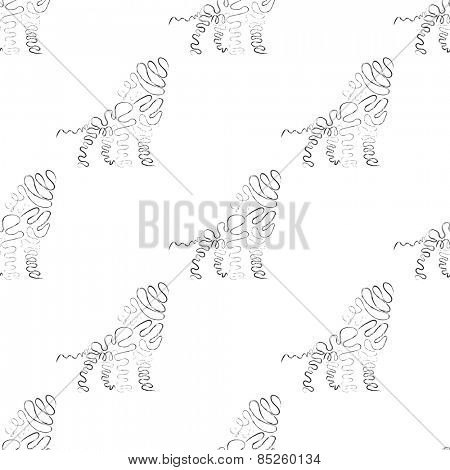 Lion seamless pattern in black and white color Vector Illustration