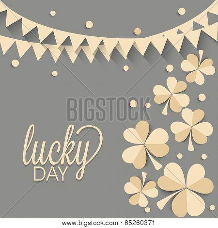 Beautiful greeting card design decorated with creative shamrock leaves and bunting for Lucky Day, Happy St. Patrick's Day celebration.