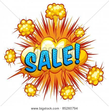 Word sale with cloud explosion background