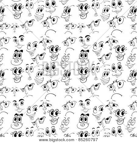 Seamless doodles of different facial expressions