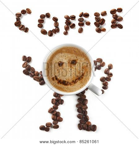 Coffee mascot and inscription of cup and beans isolated on white background