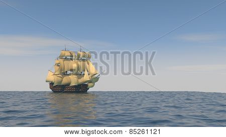 ship with yellow sales in the ocean
