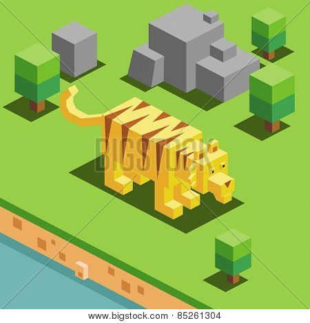 tiger in a zoo. vector illustration